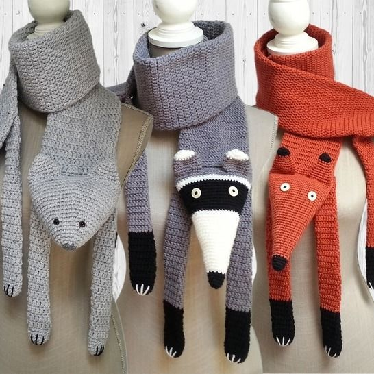 3 crochet patterns scarves fox, cat and raccoon at Makerist - Image 1
