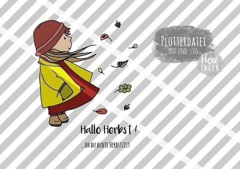 "Plotterdatei ""Herbstmädchen Anna"" DXF, SVG - Herzideen bei Makerist"