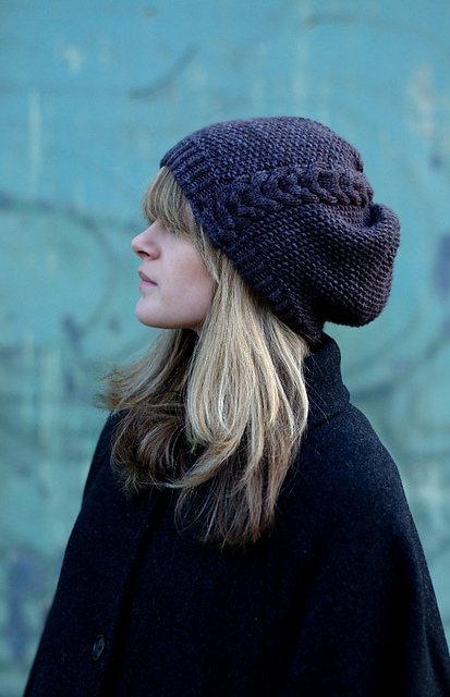 Kernmantle slouchy hat - knitting pattern