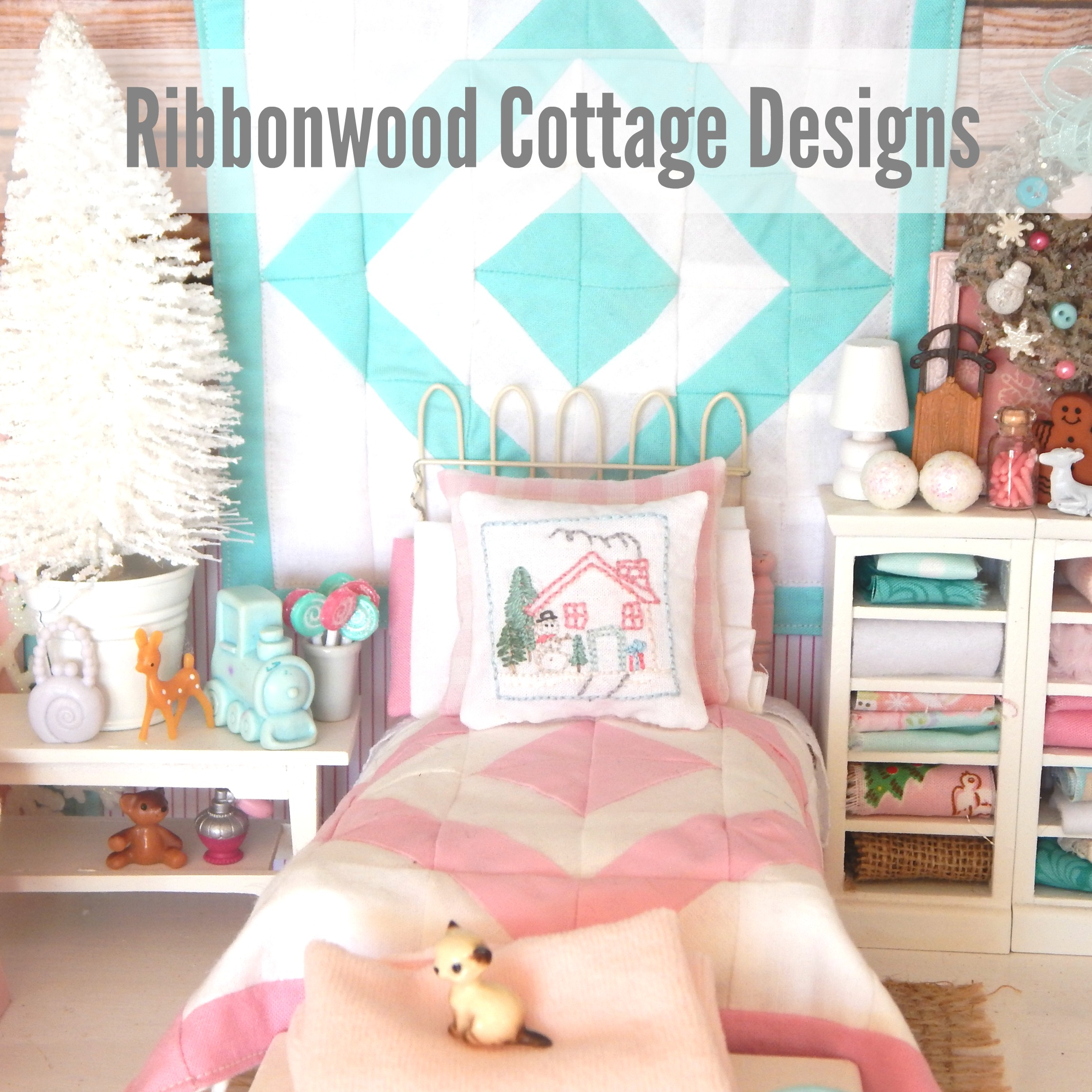 Miniature Dollhouse Pink and White Quilt, Sheet, Pillowcases, Snowman Embroidery Pillow PDF Pattern