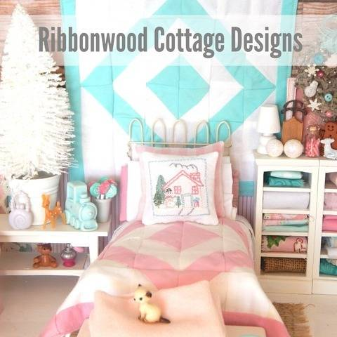 Miniature Dollhouse Pink and White Quilt, Sheet, Pillowcases, Snowman Embroidery Pillow PDF Pattern  at Makerist