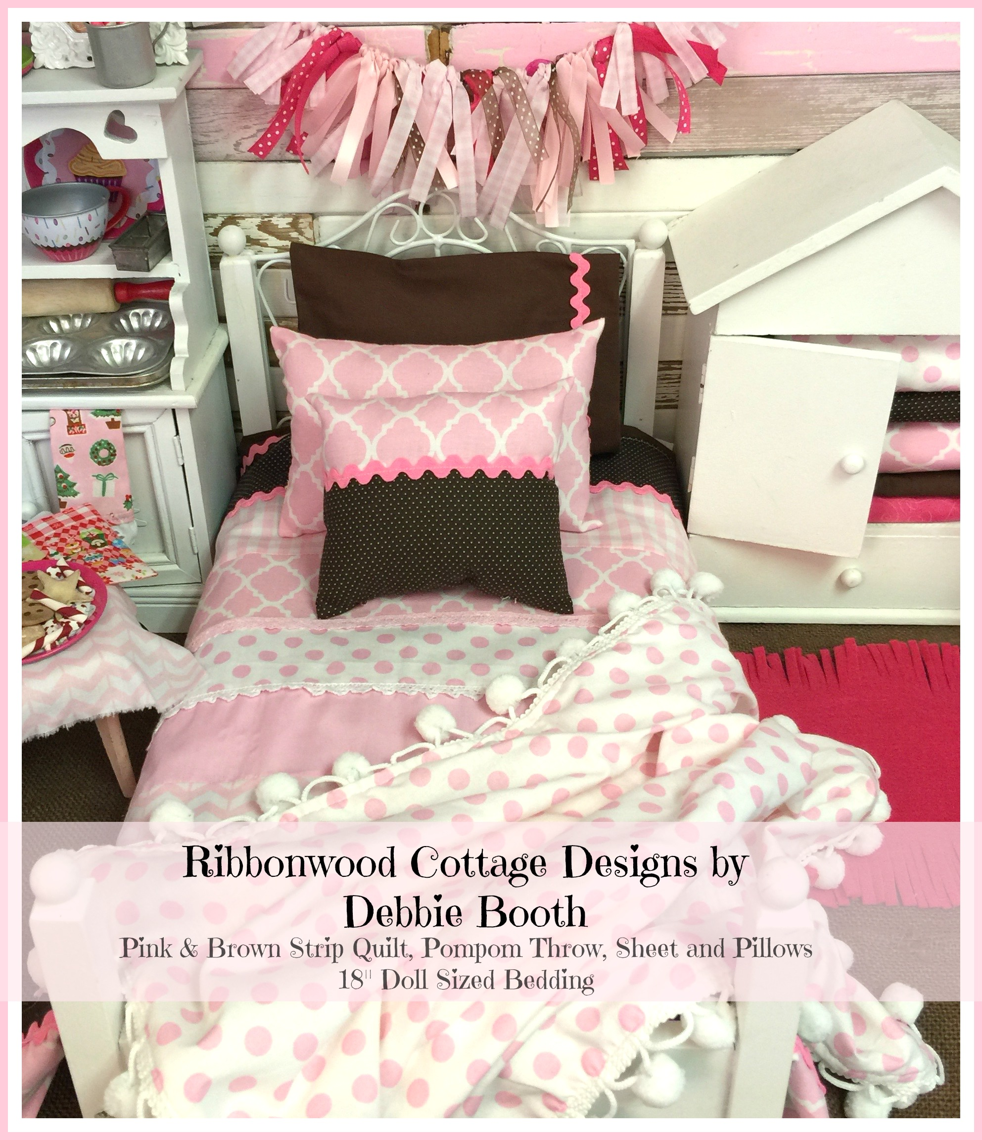 18 inch Girl PDF Pattern Pink and Brown Strip Quilt, Sheet, Pillows and Pompom Throw- 18 inch doll size bedding