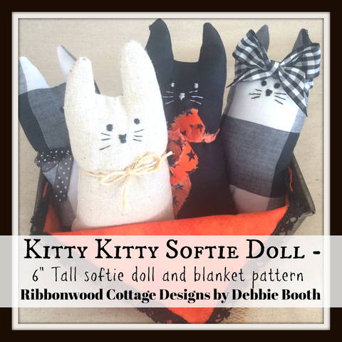 Kitty Kitty Softie Doll  6 inch tall doll and blanket