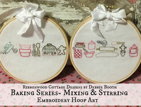 Embroidery pattern Baking Series - Mixing and Stirring 2 Hoop Art