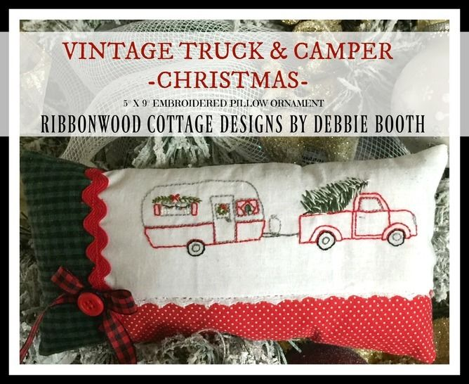 Vintage Truck and Camper Embroidery Pattern Christmas pillow Ornament at Makerist - Image 1