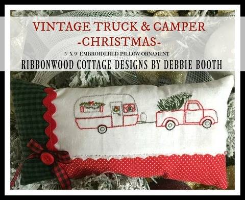 Vintage Truck and Camper Embroidery Pattern Christmas pillow Ornament