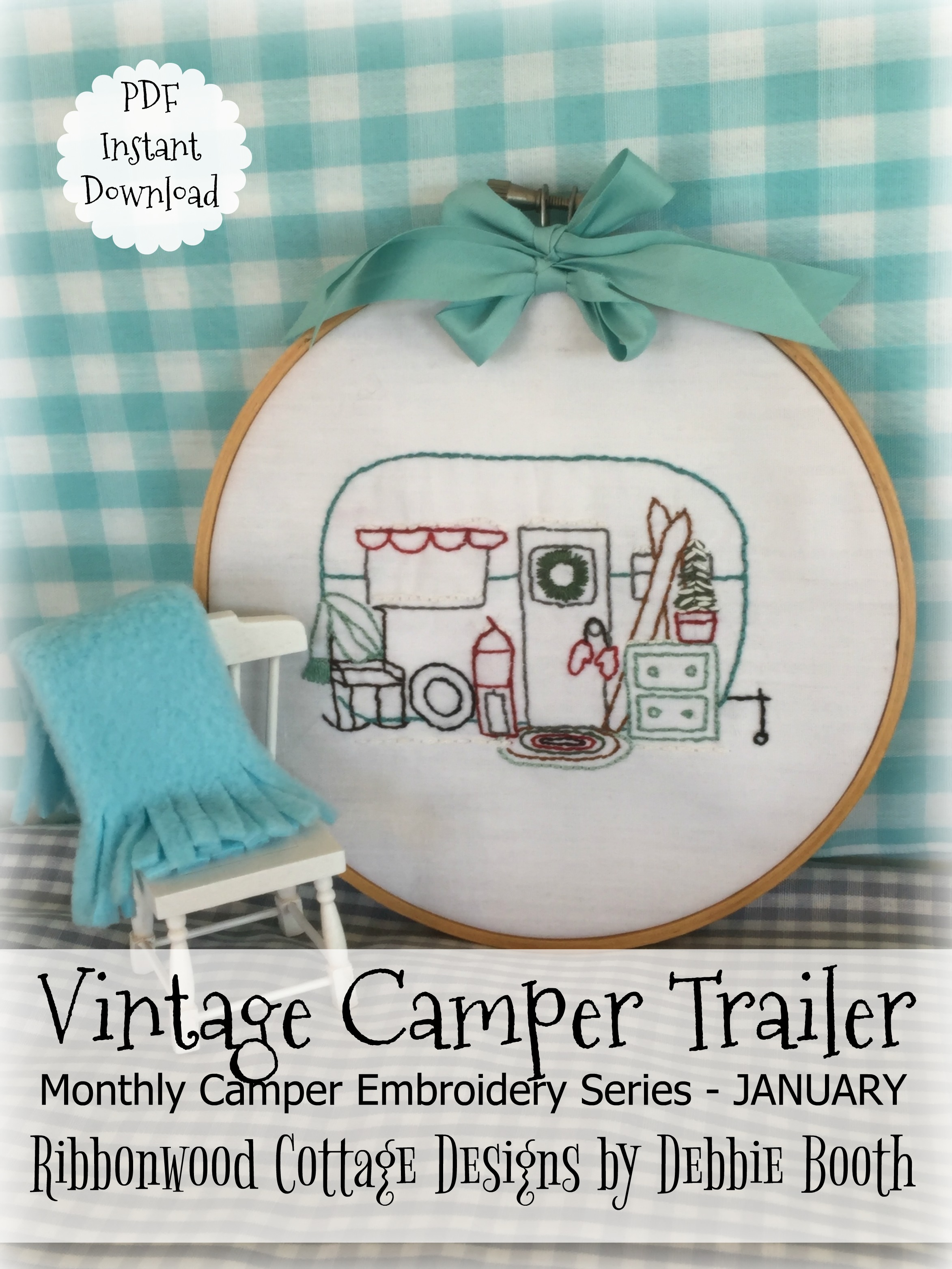 January Vintage Camper Trailer Embroidery - 12 month series