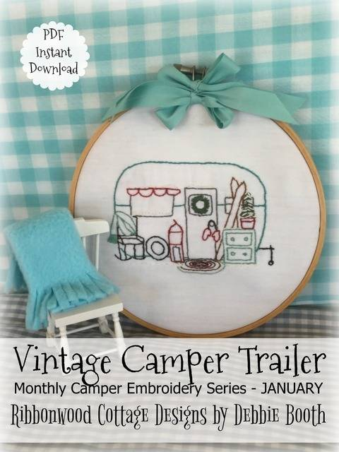 January Vintage Camper Trailer Embroidery - 12 month series at Makerist