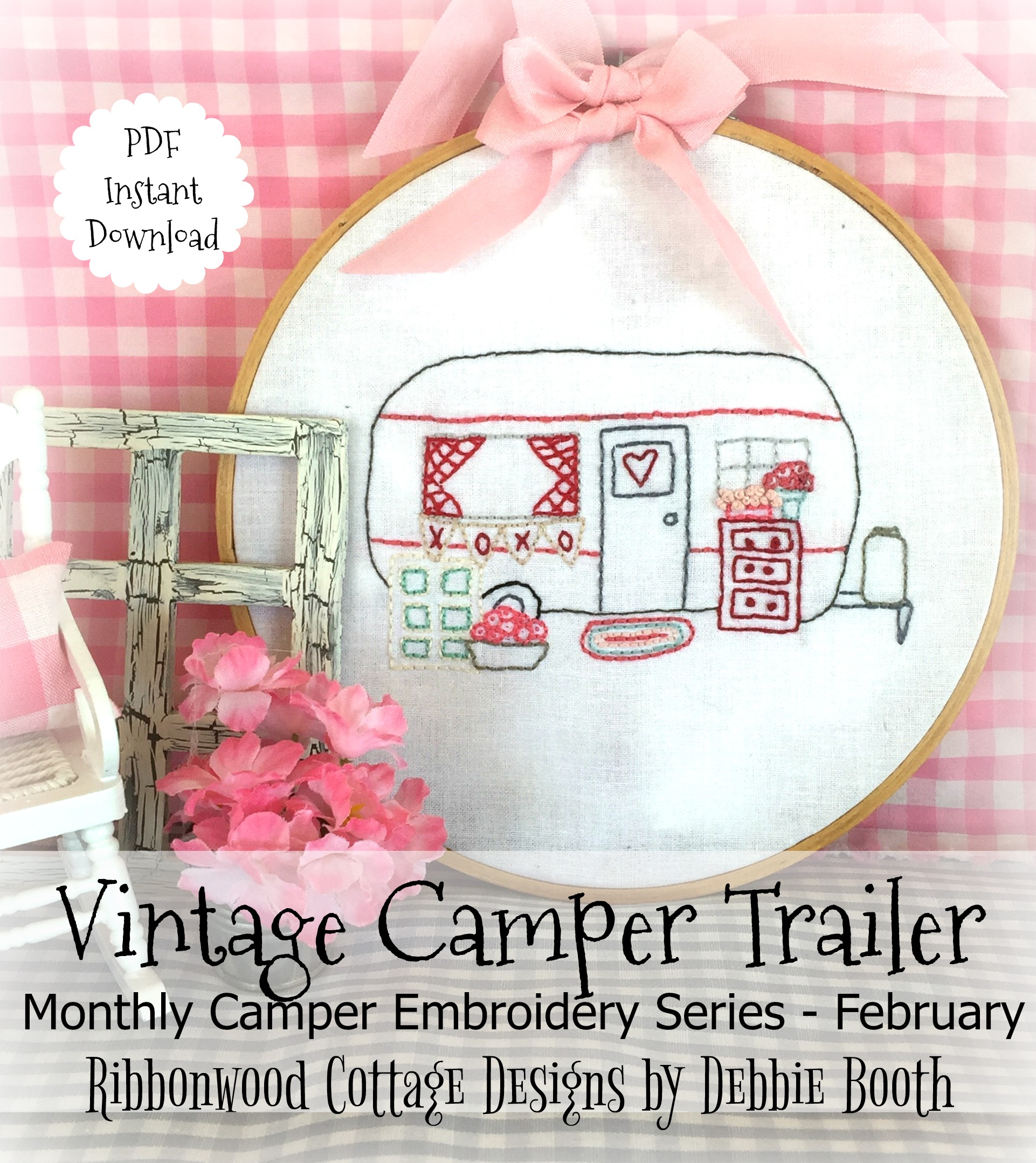 February Vintage Camper Trailer Embroidery Monthly Series