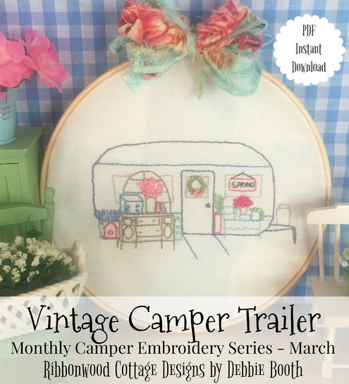March Vintage Camper Trailer Embroidery Monthly series at Makerist - Image 1