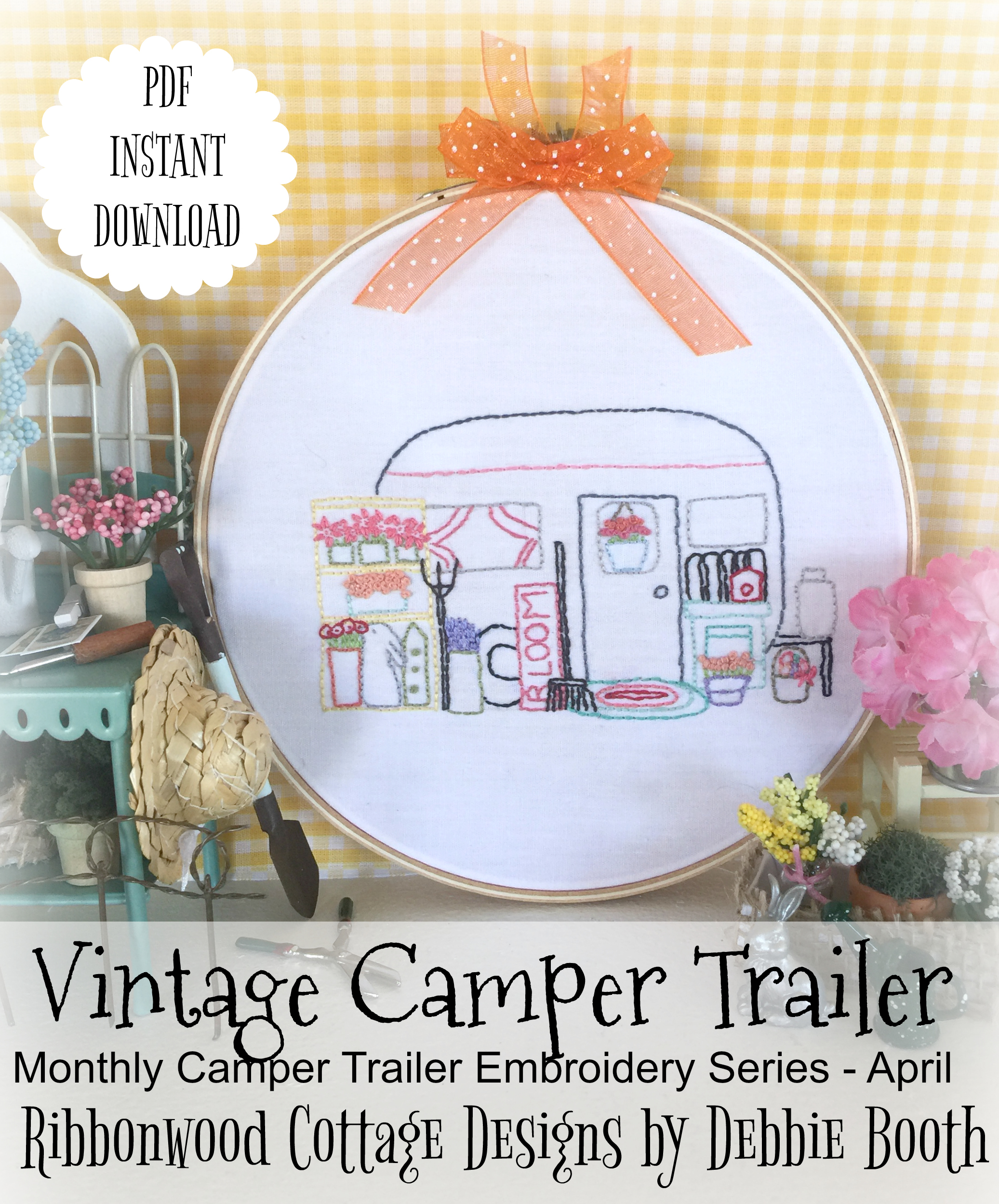 April Vintage Camper Trailer Embroidery Pattern