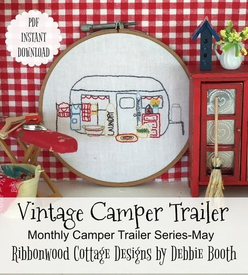 May Vintage Camper Trailer Embroidery Monthly Series at Makerist - Image 1