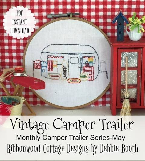 May Vintage Camper Trailer Embroidery Monthly Series