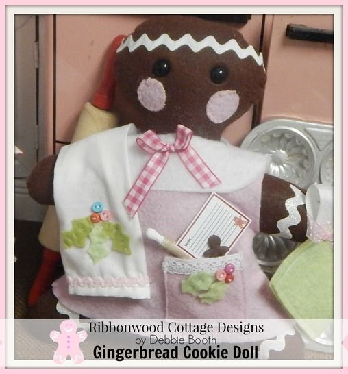 Gingerbread Cookie Felt Doll Feltie Toy, Kitchen Towel and Outfit at Makerist - Image 1