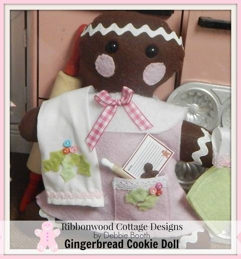 Gingerbread Cookie Felt Doll Feltie Toy, Kitchen Towel and Outfit