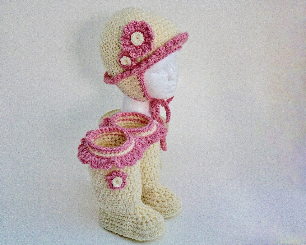 Baby Girl Frilly Hat with Ear Flaps and Boots #100G