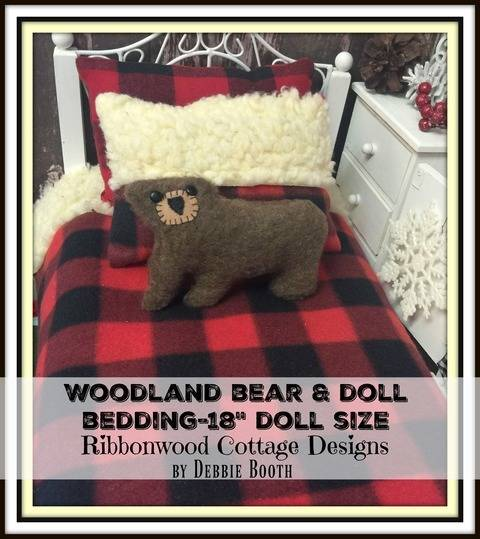 Easy Woodland Bear and 18 inch Doll Size Bedding