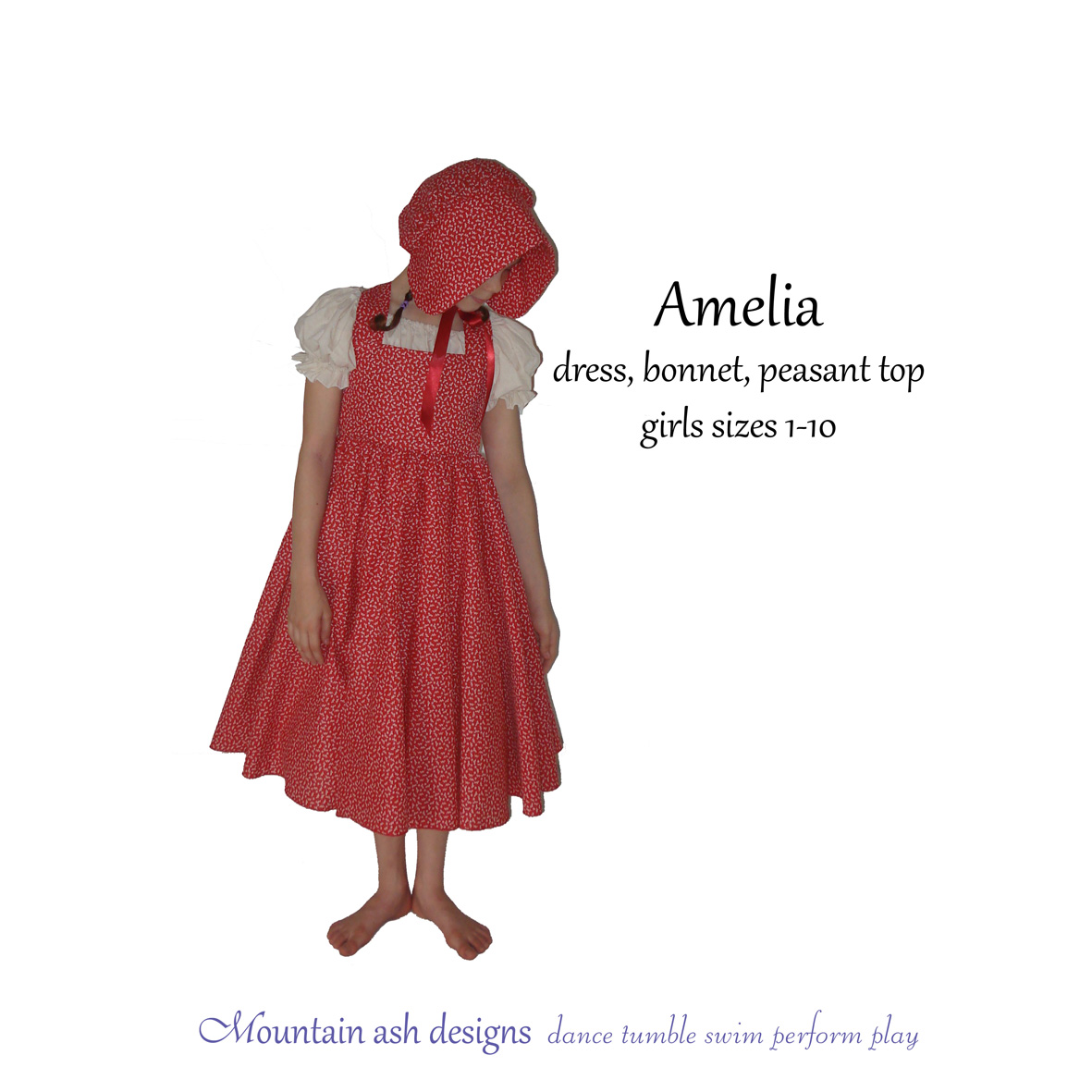 Amelia Colonial Dress and Bonnet Costume in Girls Sizes 1-10