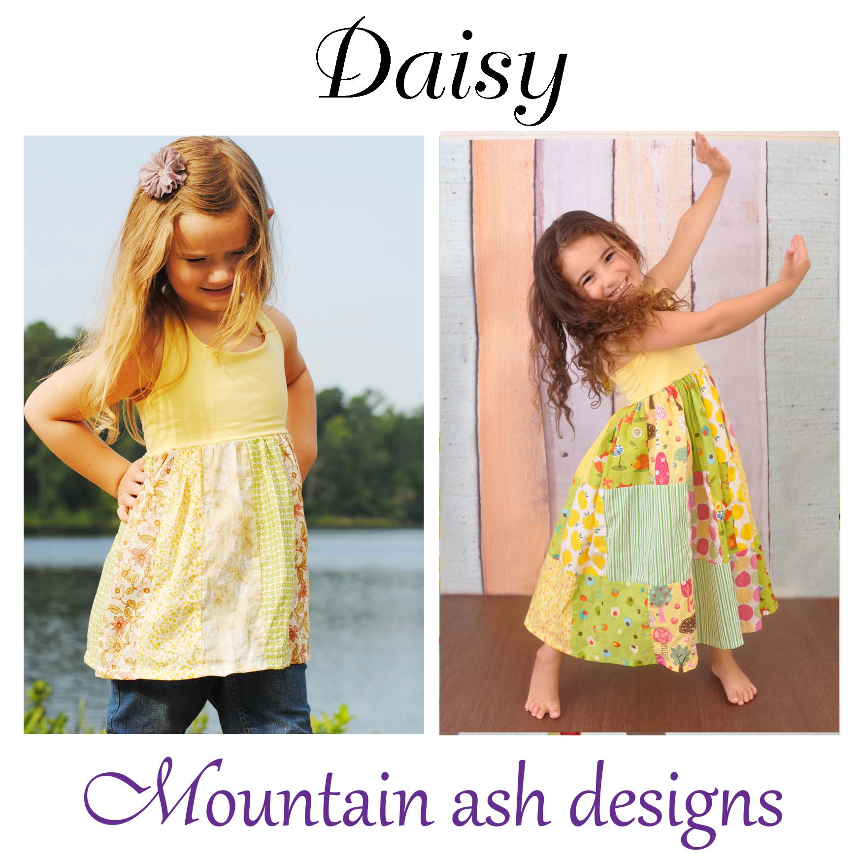 Daisy Halter Neck Patchwork Dress Sewing Pattern in Girls Sizes 1-10
