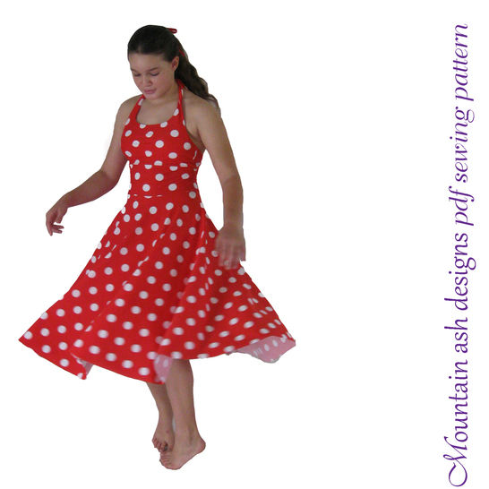 Maria Halter Neck Dress Sewing Pattern in Girls Sizes 2-14 at Makerist - Image 1