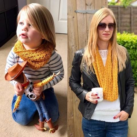 Mother and Daughter Lace Snood / Cowl / Infinity Scarf Knitting Pattern at Makerist