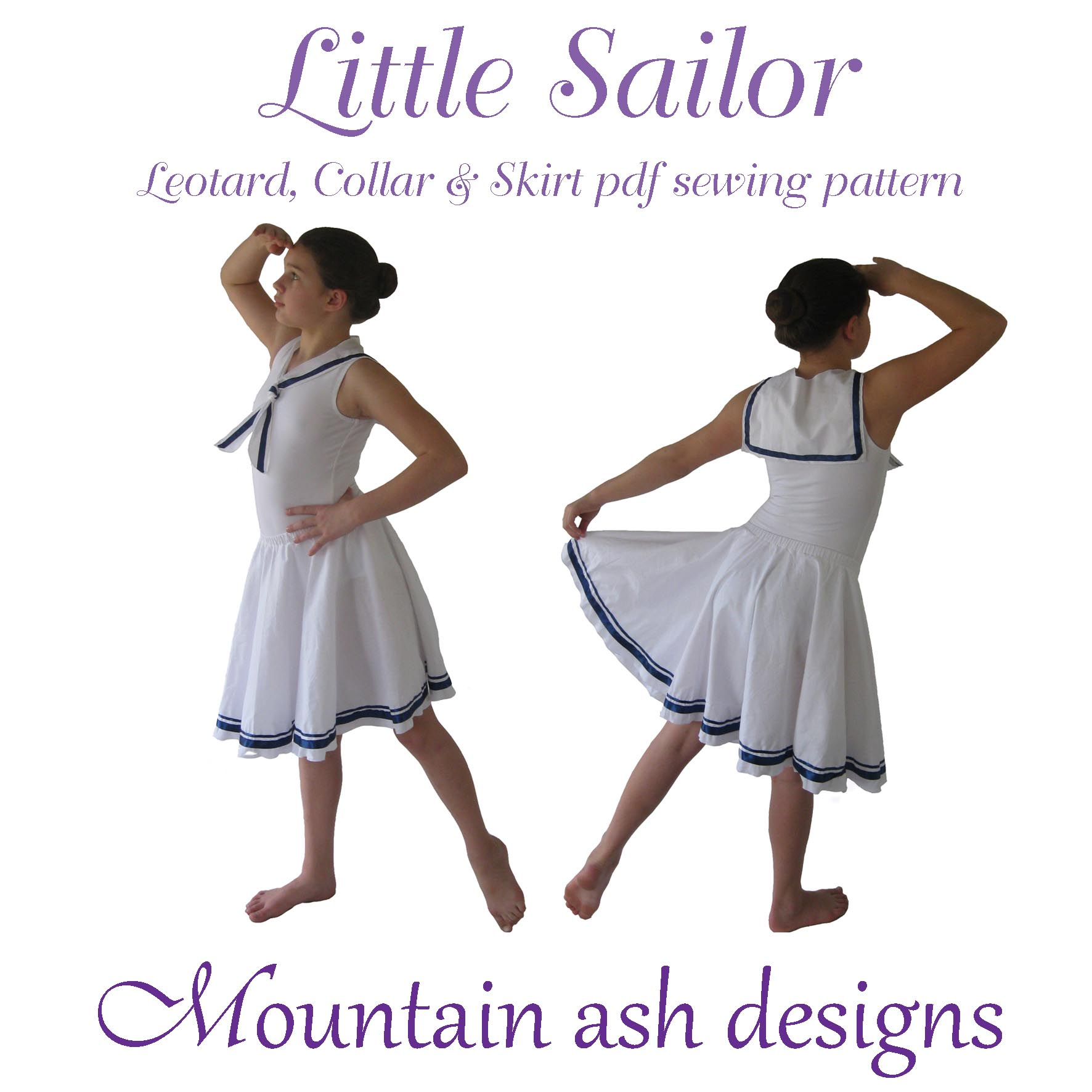 Little Sailor Dance Costume Sewing Pattern in Girls Sizes 2-14