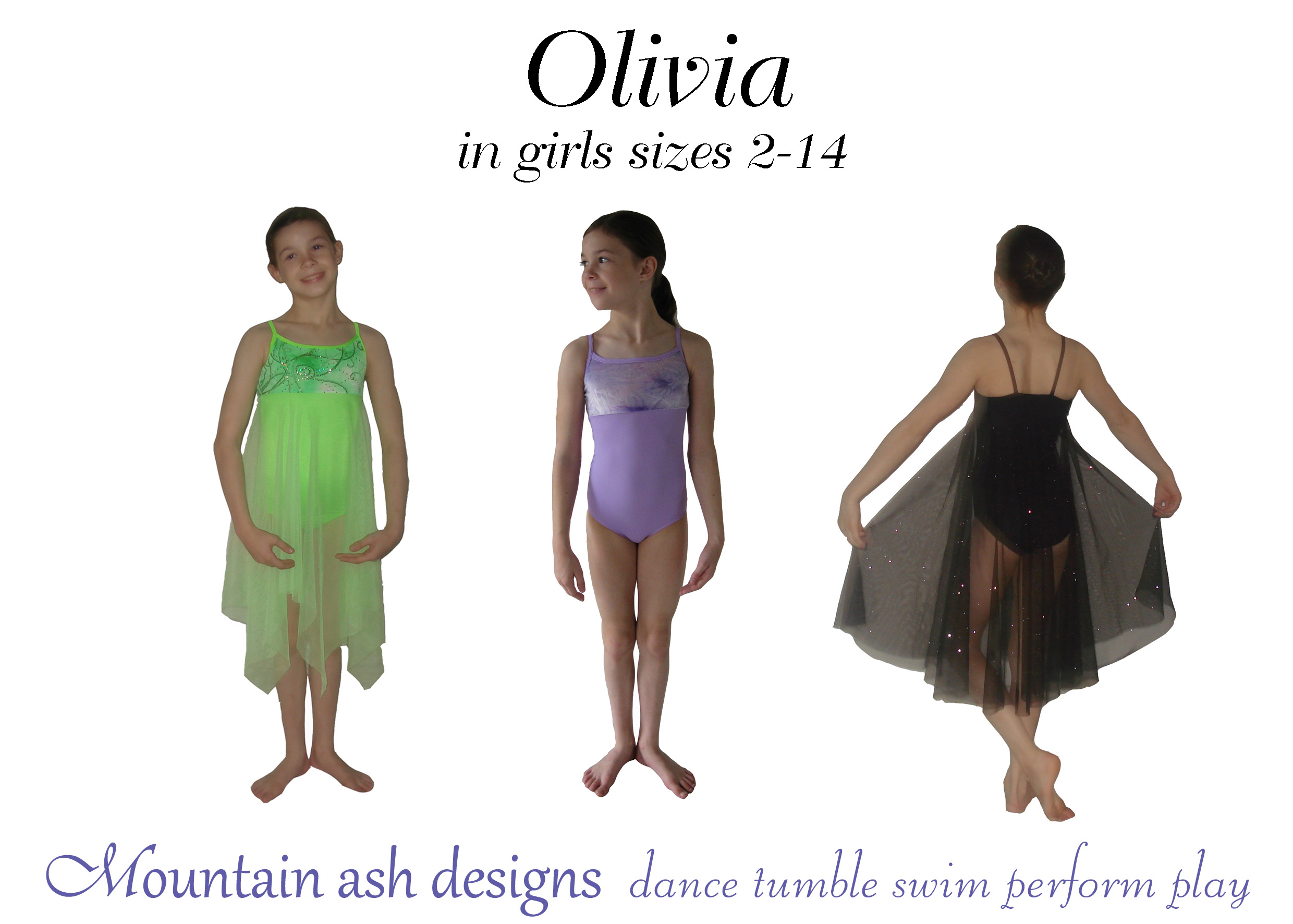 Olivia Ballet Costume and Leotard Sewing Pattern in Girls Sizes 2-14