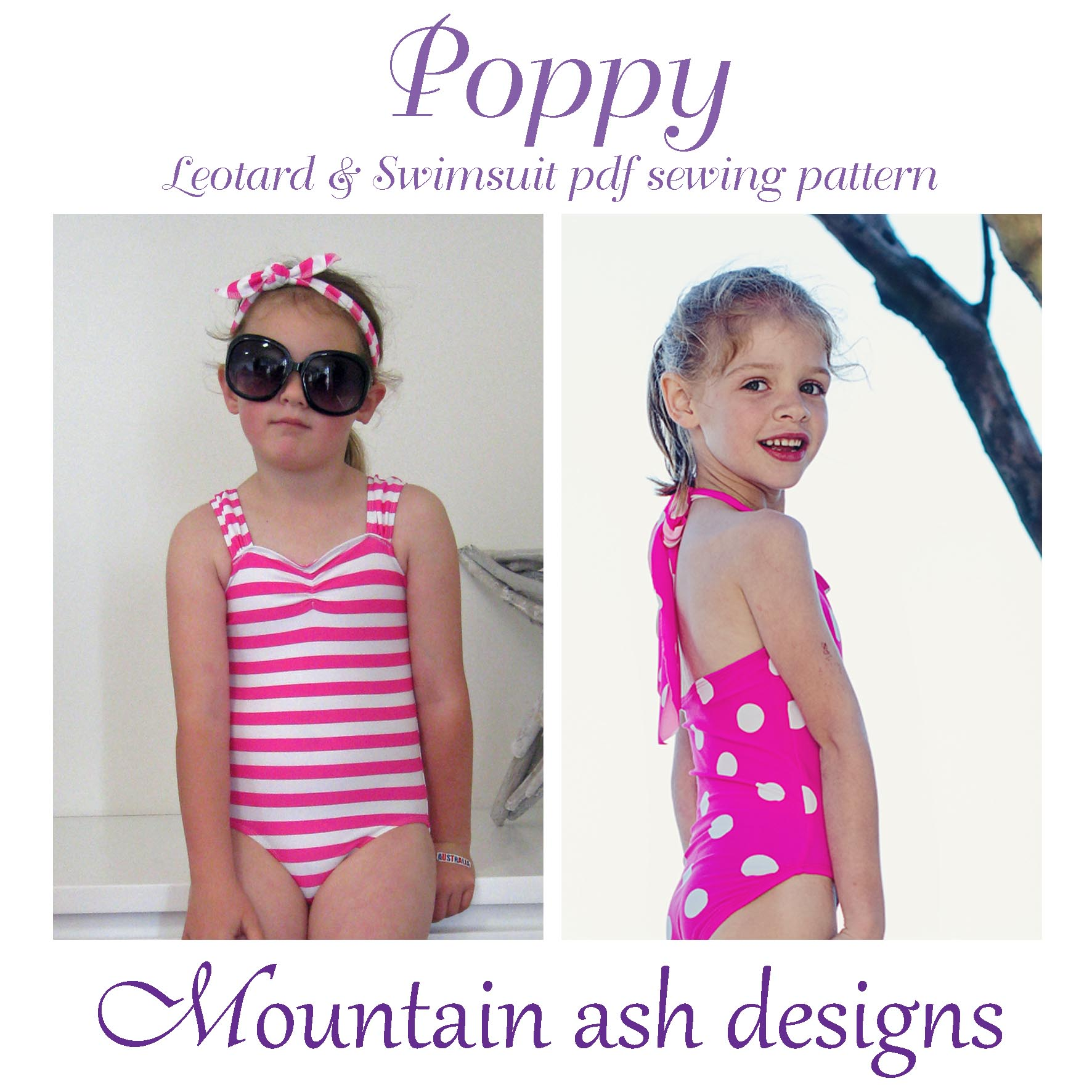 Poppy Swimsuit and Leotard Sewing Pattern in Girls Sizes 2-14