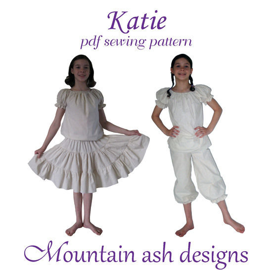 Katie Peasant Tops, Petticoats and Bloomers Sewing Pattern in Girls Sizes 1-14  at Makerist - Image 1