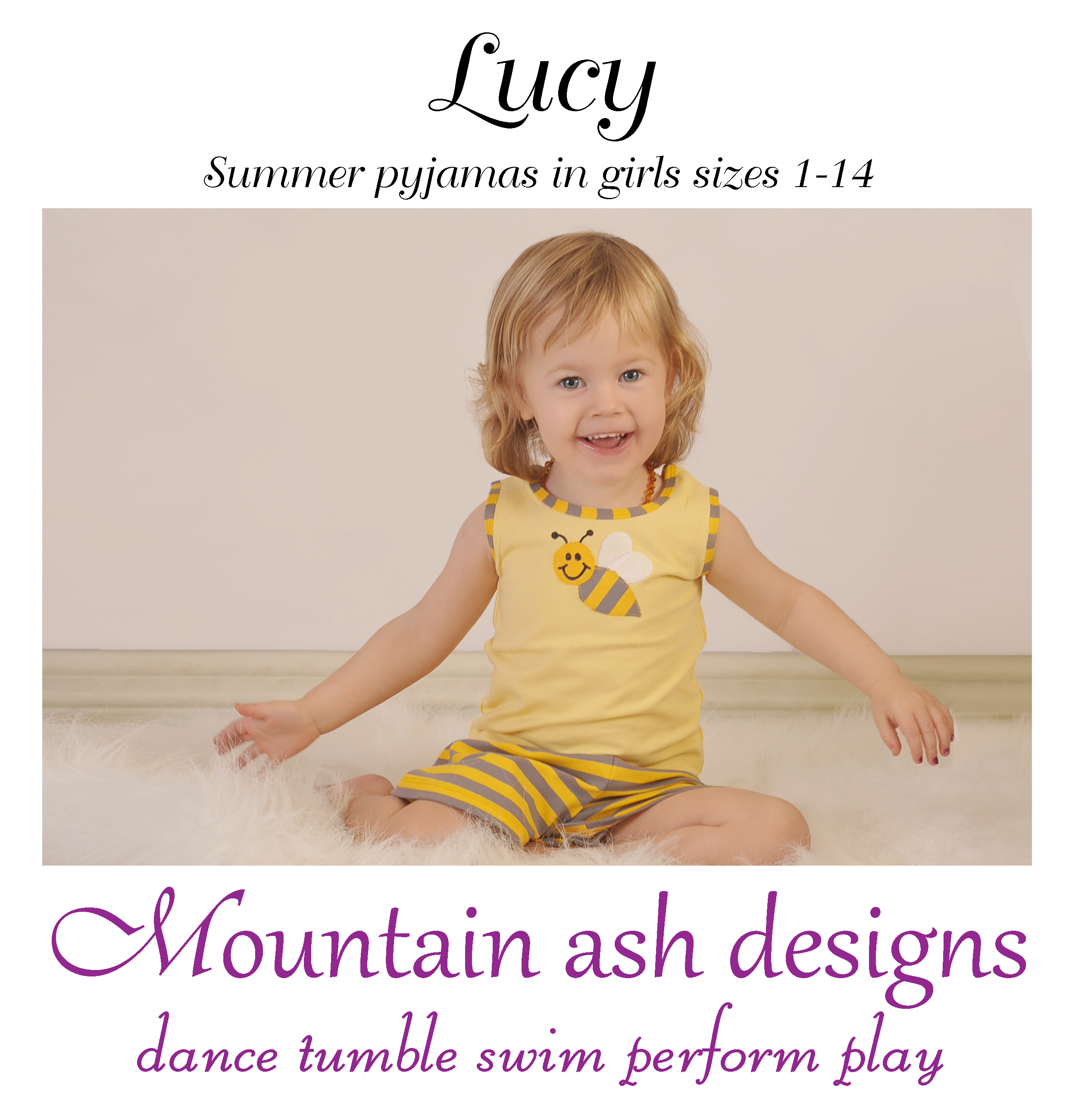 Lucy Summer Pyjamas Sewing Pattern in Girls Sizes 1-14