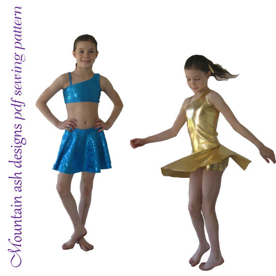 Millie Crop, Tank and Skirt Dance Costume Sewing Pattern in Girls Sizes 2-14 at Makerist - Image 1