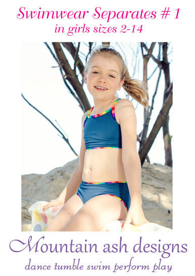 Swimwear Separates 1 Bikini Tankini Sewing Pattern in Girls Sizes 2-14 at Makerist - Image 1