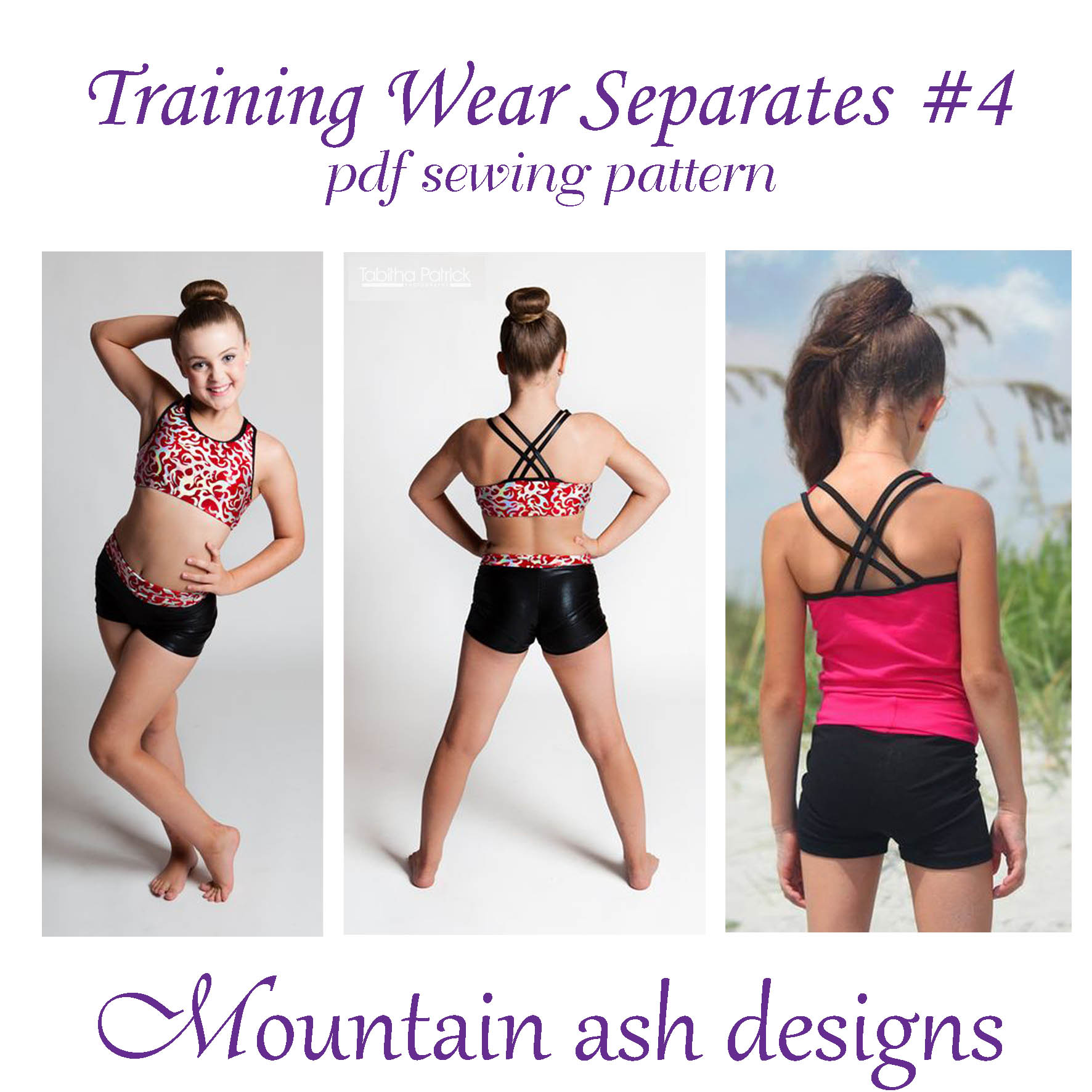 Training Wear Separates #4 Crop, Singlet and Shorts Sewing Pattern in Girls Sizes 2-14