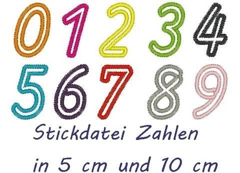 Stickdatei Zahlen in 10 und 5cm