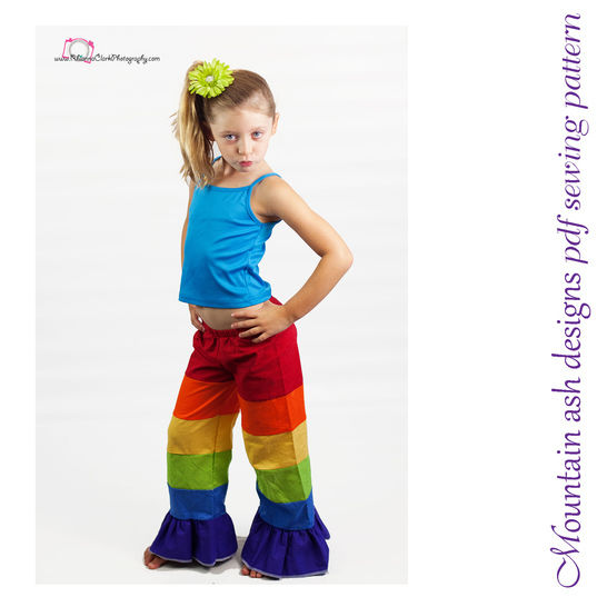 Patchwork Pants Rainbow Pants Sewing Pattern in Girls Sizes 1-10 at Makerist - Image 1