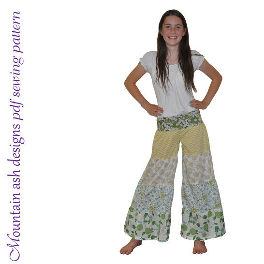 Rainbow Ruffle Flares Festival Pants Sewing Pattern in Girls Sizes 1-14 at Makerist - Image 1