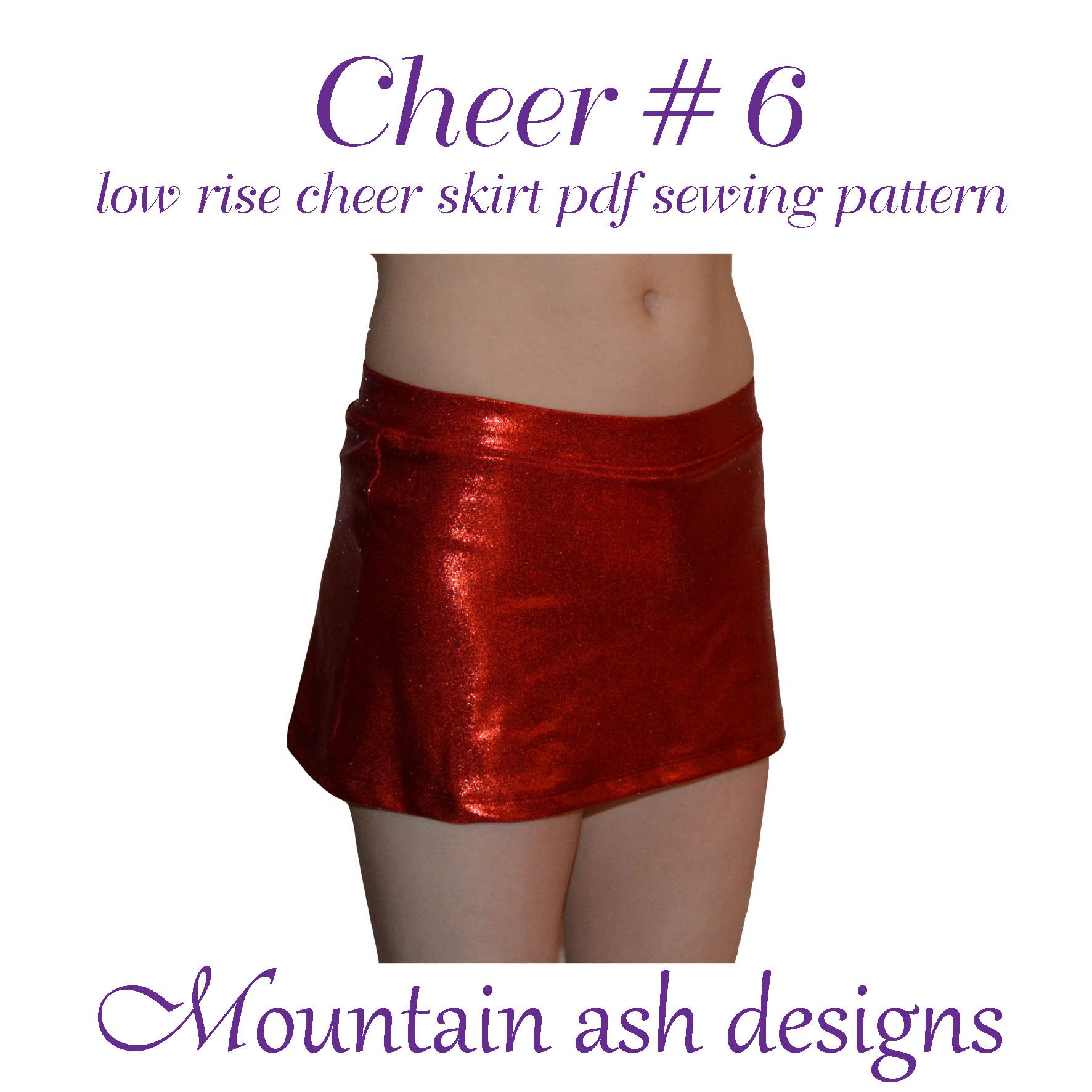 Cheer 6 Low Rise Cheerleading Skirt Sewing Pattern in Girls Sizes 2-14