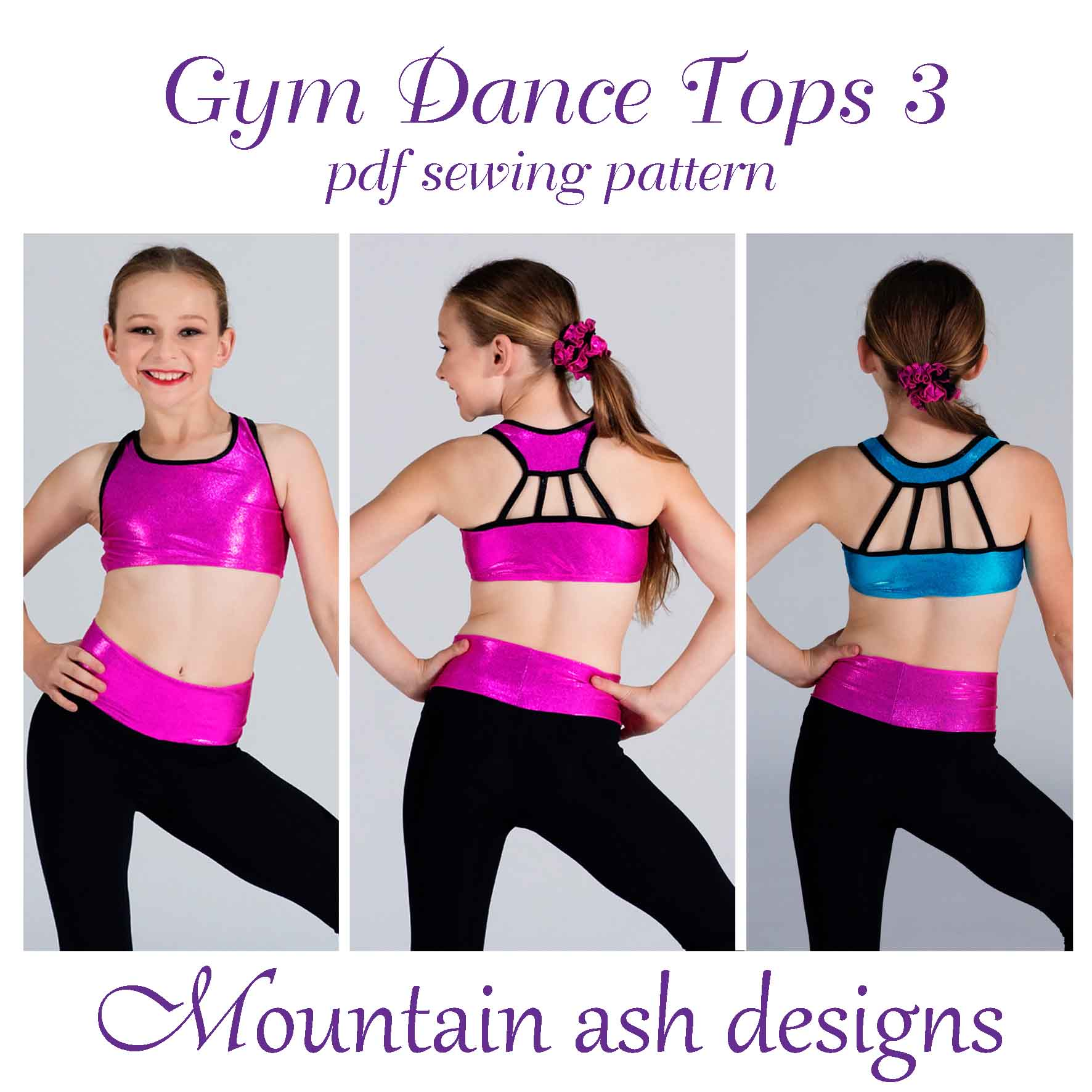 Gymnastics and Dance Tops 3 in Girls Sizes 2-14