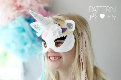 Unicorn Party Mask Pattern with Horn at Makerist