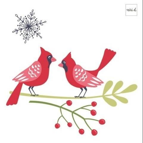 Weihnachtliche Plotterdatei Rote Kardinäle