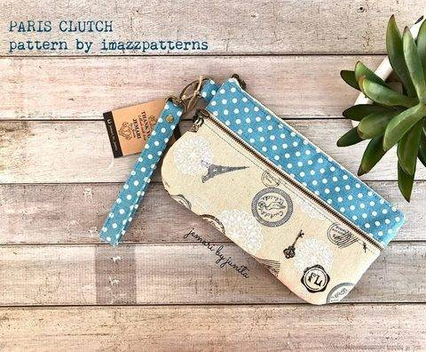 Clutch / wristlet /pencil case - practical design -2 zippered pockets- 6 card slots- detailed instructions with over 70 pics.
