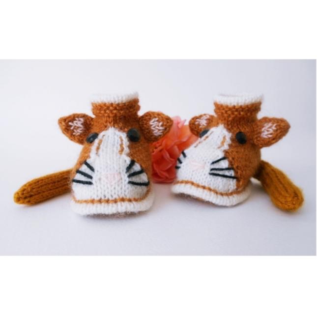 Chaussons chat roux - Tutoriel tricot