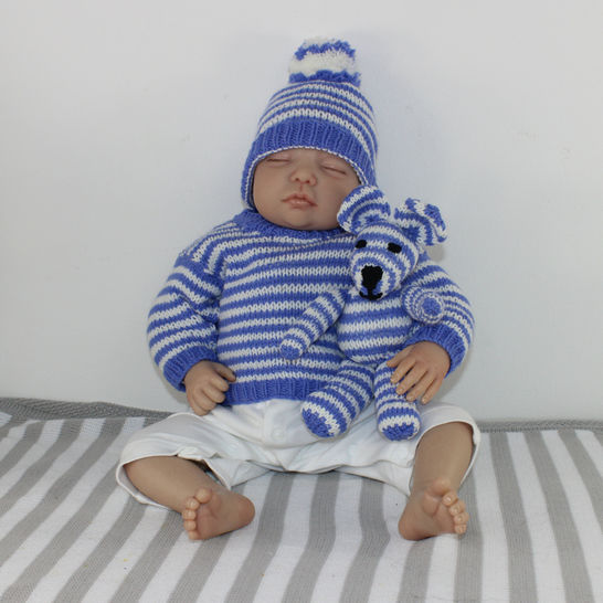 Baby Stripe Sweater, Bobble Beanie Hat & Teddy Bear Toy at Makerist - Image 1