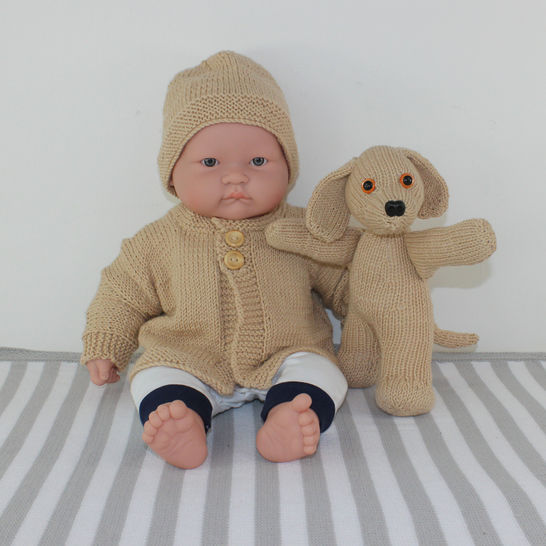 Baby Cardigan, Beanie and Toy Puppy at Makerist - Image 1