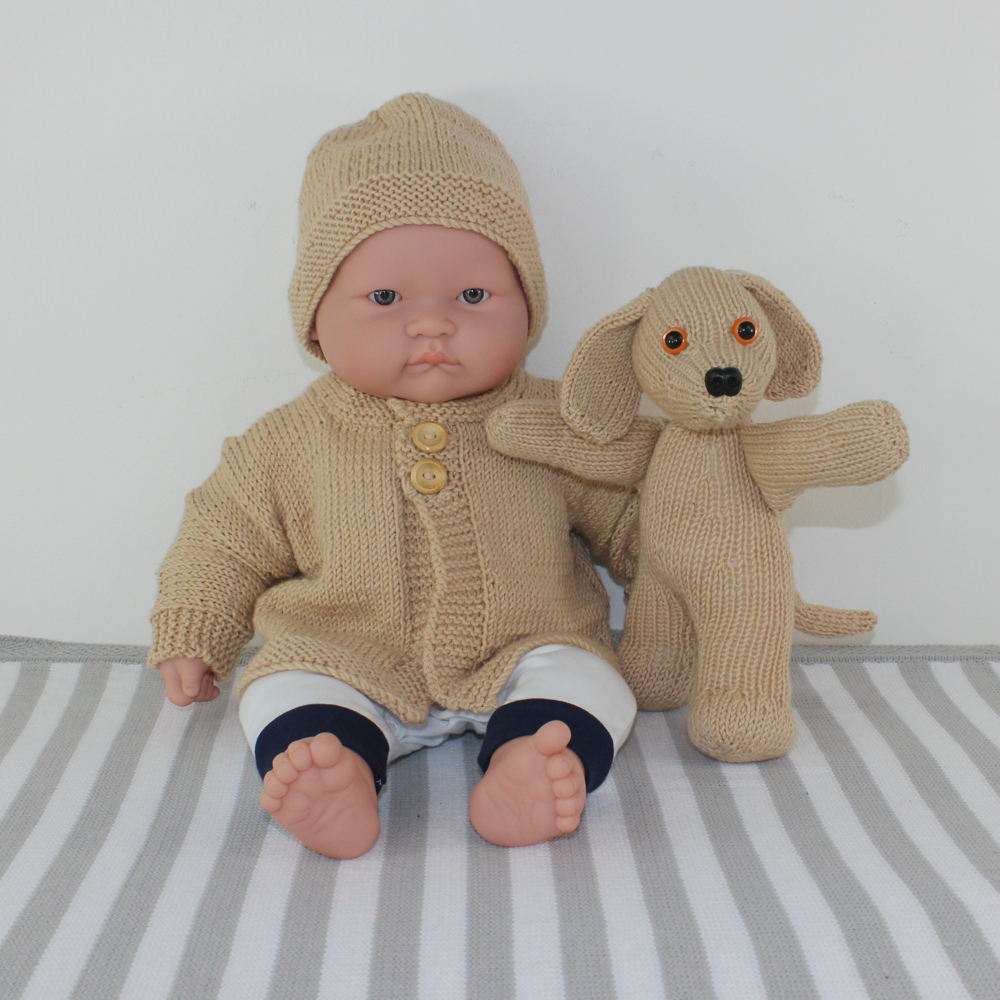 Baby Cardigan, Beanie and Toy Puppy
