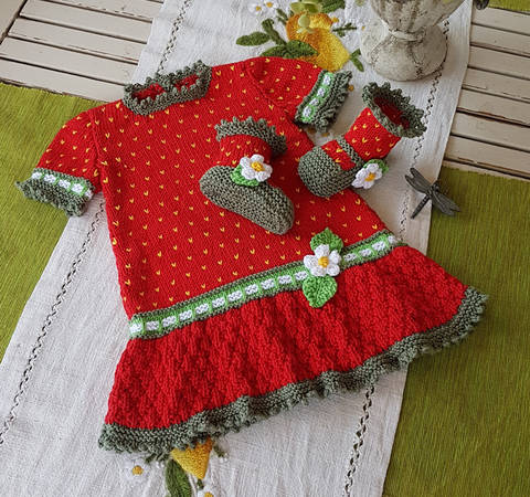 Strawberry Field Dress Set for 3 - 18 months