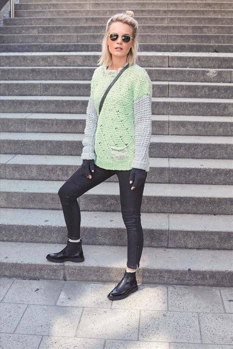 Tunesisch gehäkelter Pullover in Rauten-Gitter-Weboptik aus Merino-Baumwollgemisch