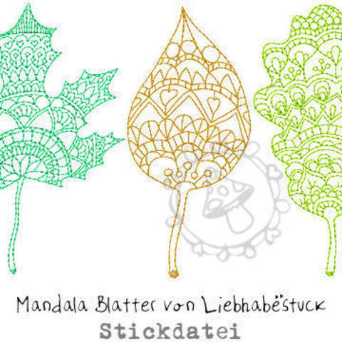 Stickdatei Mandala Blätter