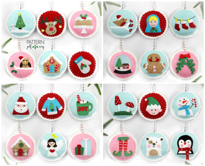Felt Christmas Ornament Patterns, 24 Advent Ornament Pattern, DIY Christmas, at Makerist - Image 1