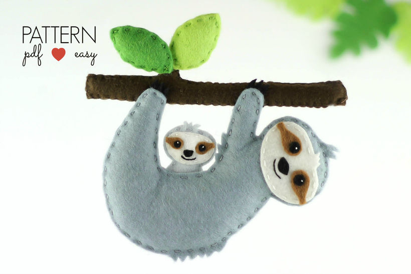 Sloth Sewing Pattern - Felt Sloth Ornament Pattern, at Makerist - Image 1